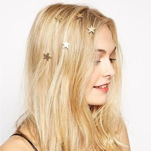 Spiral Gold Stars Hair Accessory 6 pcs set
